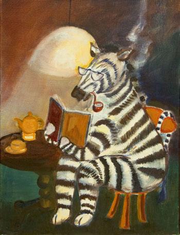 kinder, lezende zebra