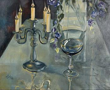 Stilleven met glas en kaars