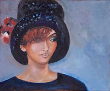 vrouw  met hoge hoed