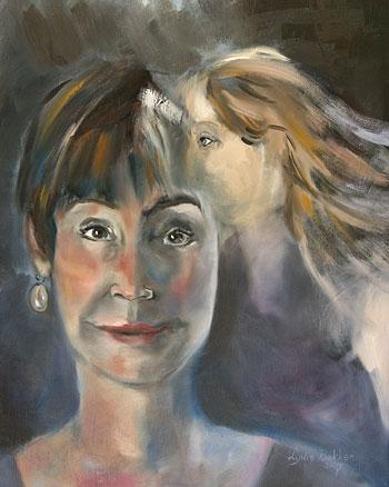 zelfportret met roos