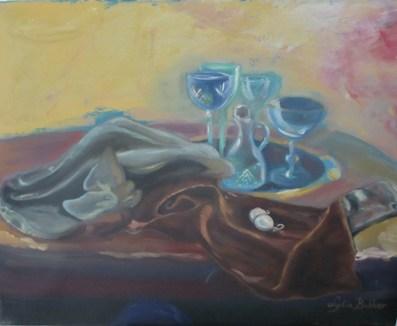Glaswerk en parels op fluweel
