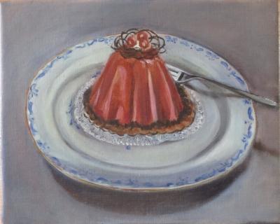 taartje met besjes en vork
