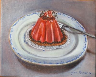 taartje met kersen en vork