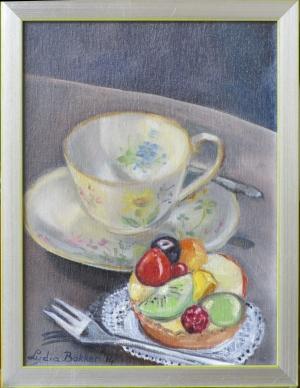vruchtentaartje met kop en schotel