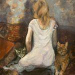Meisje met de poezen, olieverf op doek, 60x50 cm