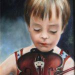 Berend met viool, olieverf op doek, 40×30 cm