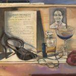 Biografisch tableau, olieverf op linnen, 40x50 cm