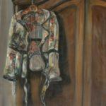 Bloesje aan kast, olieverf op linnen, 50x40 cm