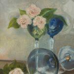 Stilleven met glazen en rozen, olieverf op linnen, 24×18 cm