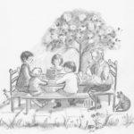 Aan tafel pannenkoeken eten, Kokos en Noga (prentenboek), tekening op A4