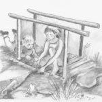 Spelen op het bruggetje, Kokos en Noga (prentenboek), tekening op A4