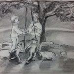 Herders en spelende kinderen bij Troje (prentenboek), tekening op A4 papier