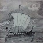 Aankomst bij Troje (prentenboek), tekening op A4 papier