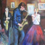 Jazz in Welling, olieverf op doek, 60x80 cm