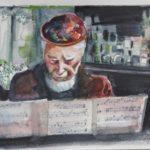 Theo Loevendie musiceert, aquarel, 15x21 cm