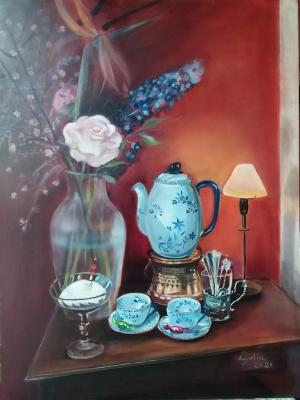 Valentijnsboeket, olieverf op masoniet, 81x61 cm
