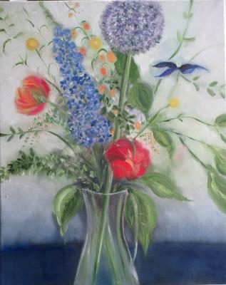 Bloemen in vaas, olieverf op linnen, 50x40 cm