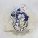 vaasje met viooltjes, aquarel, 16x15 cm